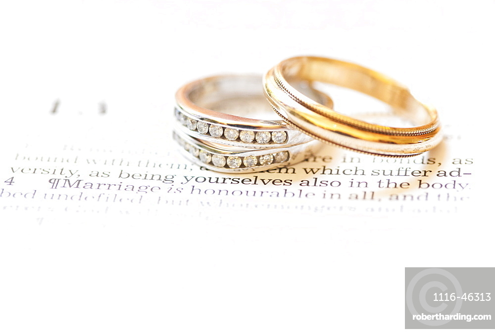 Wedding Bands Placed Over The Scripture Hebrews 13:4, Waco, Texas, United States Of America
