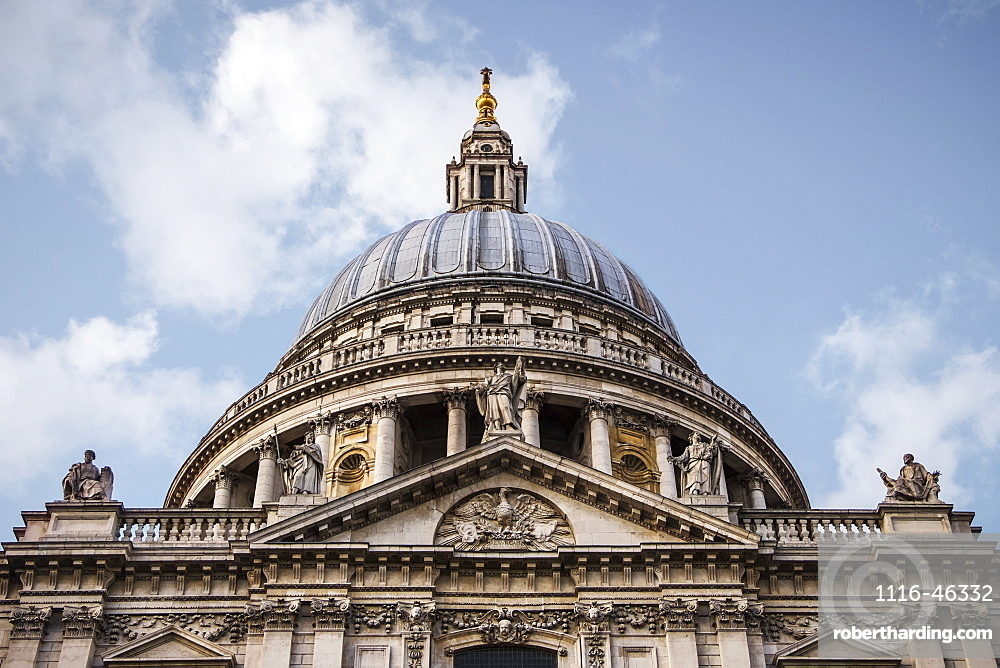 Looking Up At The Dome Of St Paul's Cathedral, London, England