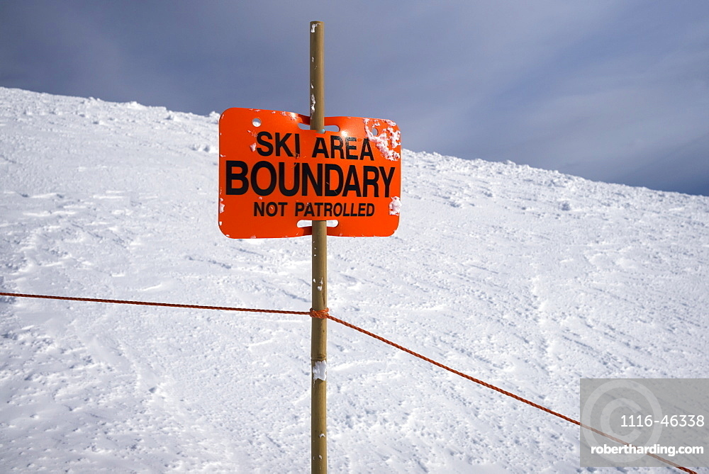 Orange Sign For Ski Area Boundary, Sunshine Ski Resort, Banff National Park, Banff, Alberta, Canada