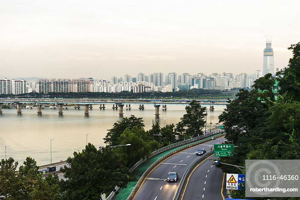 Bridges Crossing The Han River And A Road With Buildings In A Cityscape, Seoul, South Korea