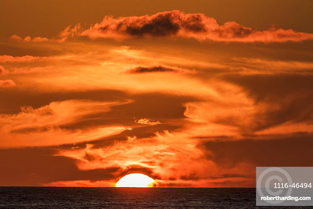 The Setting Sun Observed From The Kona Coast, Kona, Island Of Hawaii, Hawaii, United States Of America