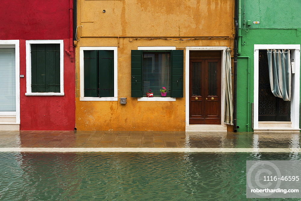 Colourful Houses Along A Canal, Venice, Italy