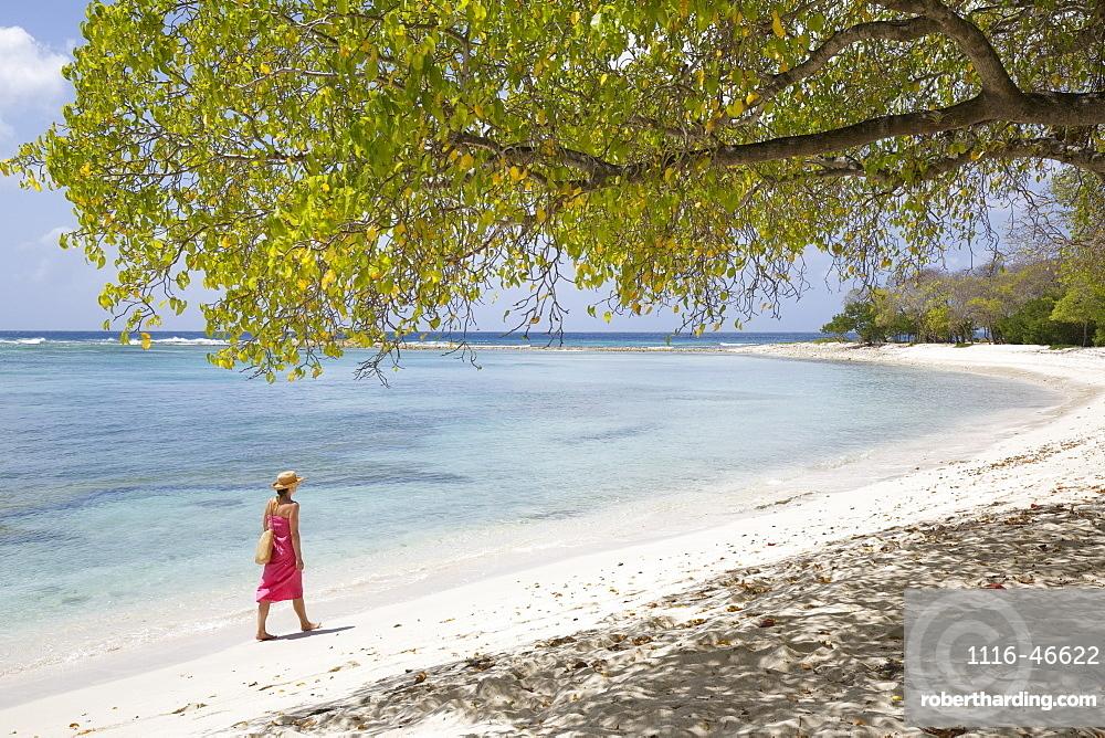 Woman In Bikini Walking On Shores Of White Sand Beach