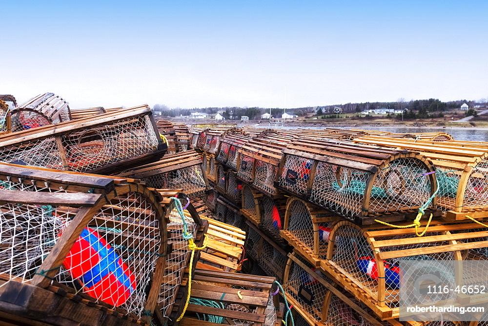 Lobster Traps Stacked On The Wharf, Ingonish, Cape Breton, Nova Scotia, Canada