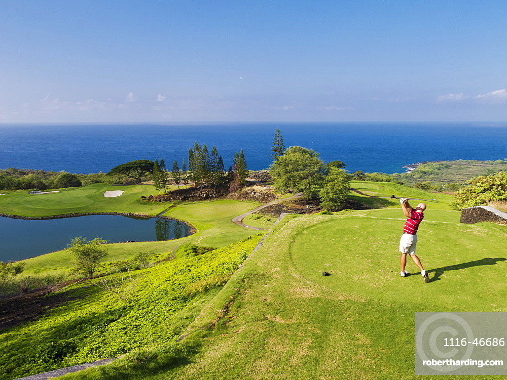 Golfer On Golf Course At Kona Country Club, Kailua Kona, Island Of Hawaii, Hawaii, United States Of America