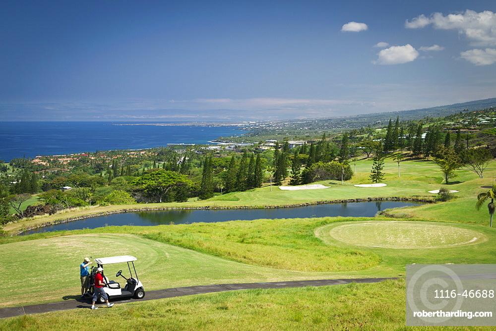 Golfers On Golf Course, Kona Country Club, Kailua Kona, Island Of Hawaii, Hawaii, United States Of America