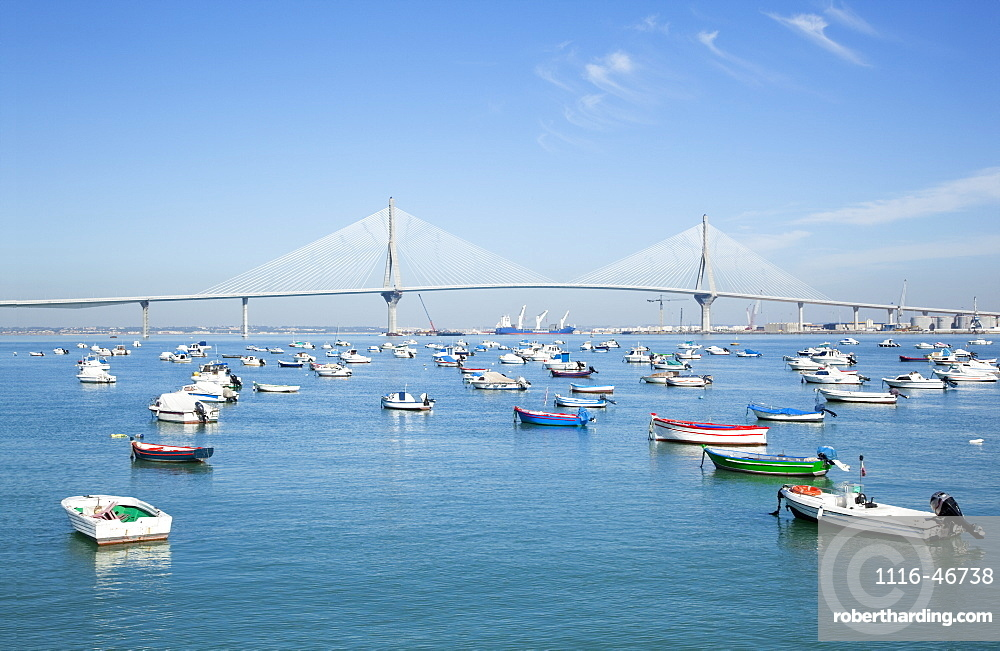 Boats Moored In A Tranquil Harbour, Cadiz De La Frontera, Andalusia, Spain