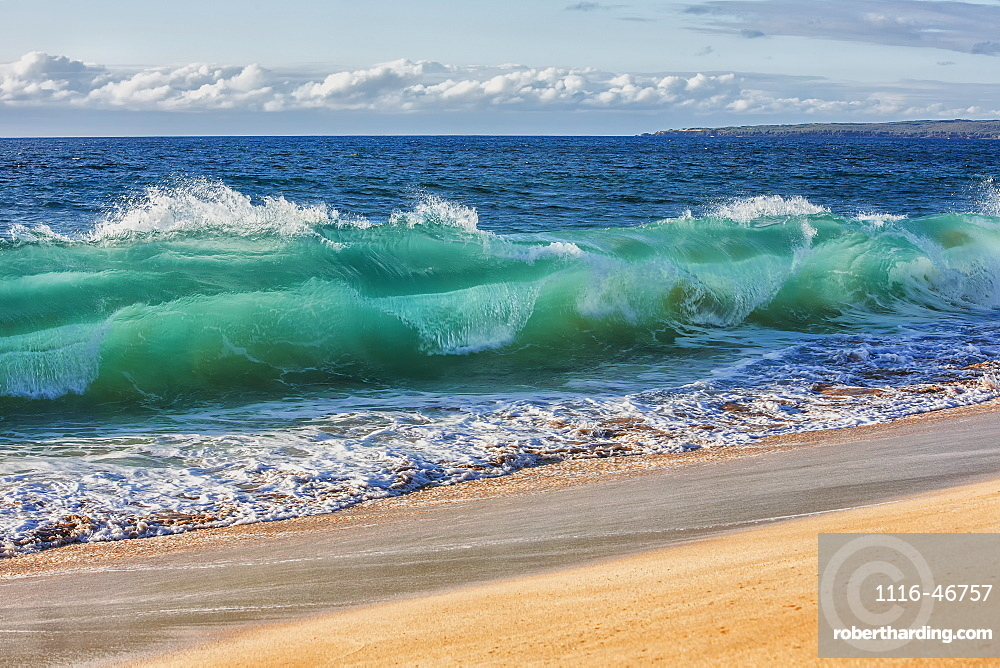 Turquoise Ocean Water In A Curled Wave Along The Beach, Hawaii, United States Of America