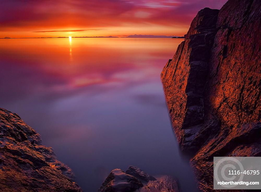Scenic Sunset Along Turnagain Arm, Southcentral Alaska, Summer