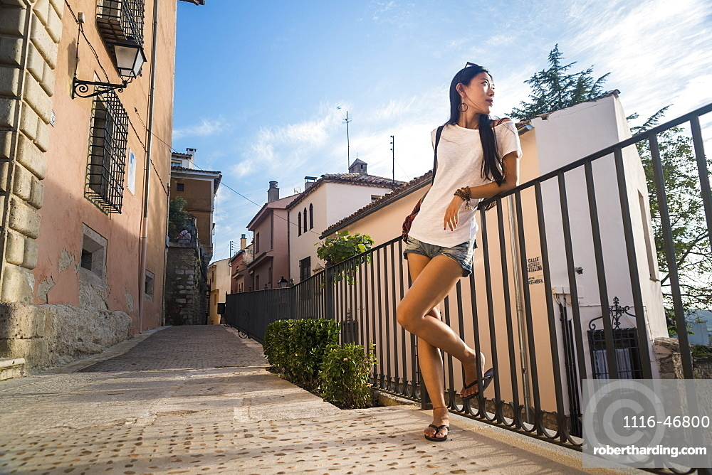 A Young Chinese Woman In Downtown Cuenca, Cuenca, Castile-La Mancha, Spain