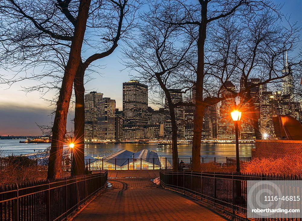 Lower Manhattan Skyline At Twilight, Pineapple Street Entrance To Brooklyn Promenade, Brooklyn, New York, United States Of America