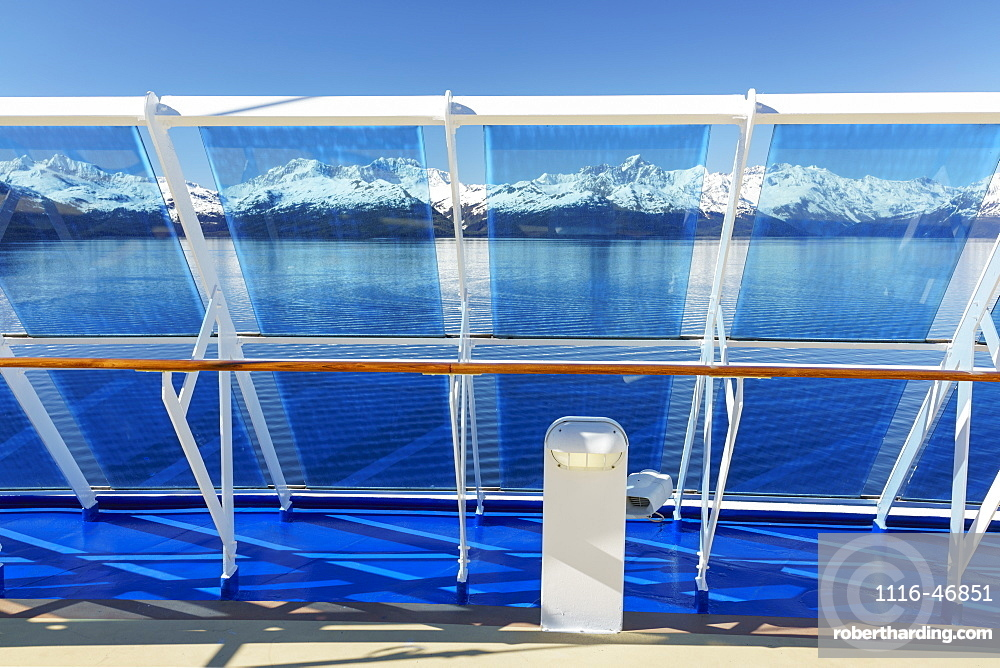 Wind breaks on cruise ship entering College Fjord in Glacier Bay National Park and Preserve, Alaska, United States of America