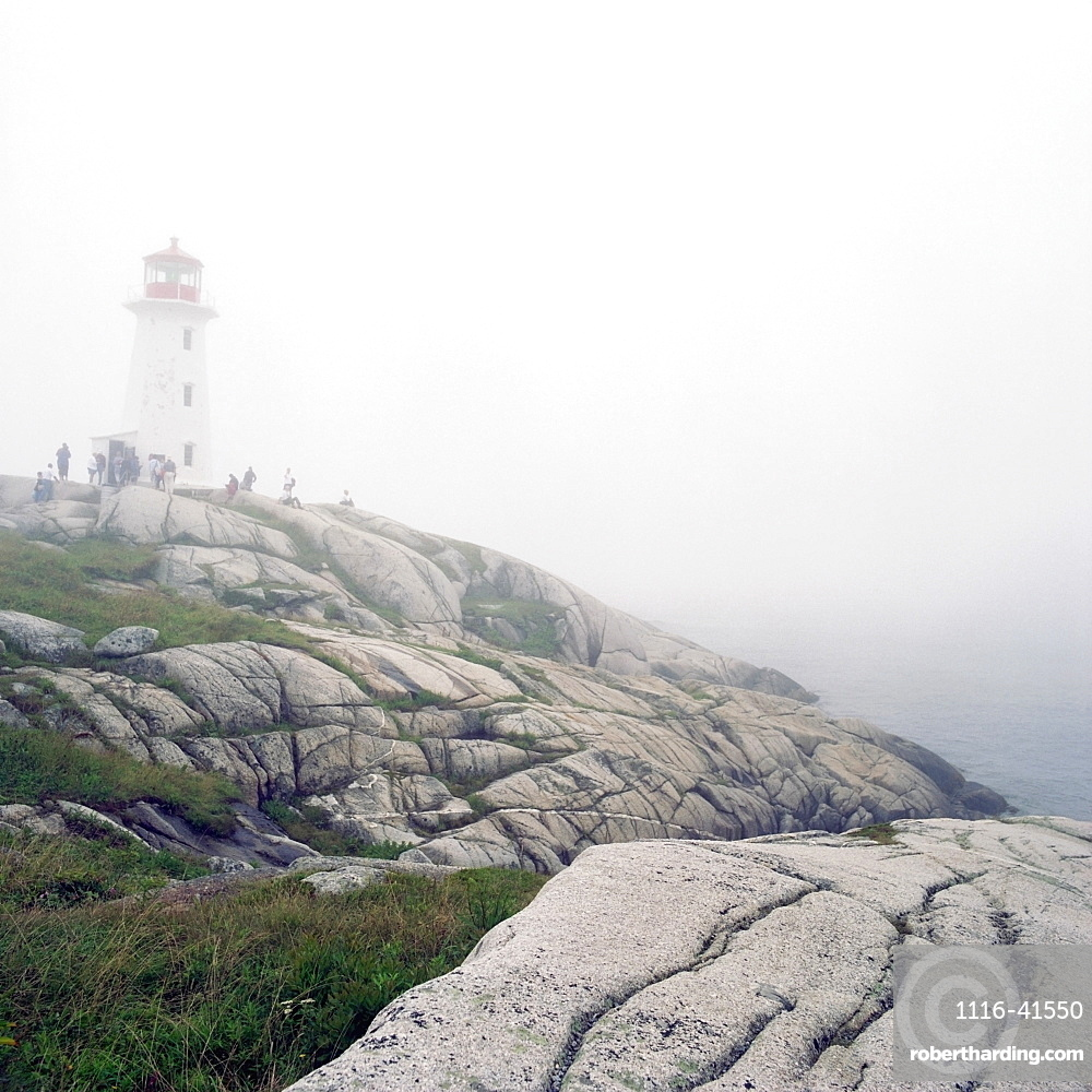 Lighthouse In Fog, Peggy's Cove, Nova Scotia.