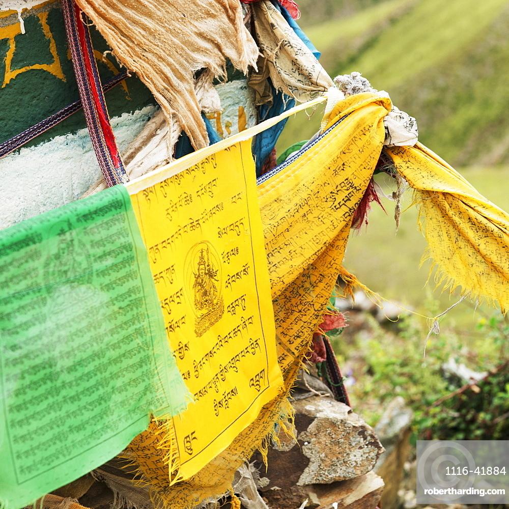 Green and yellow prayer flags, Shannan xizang china