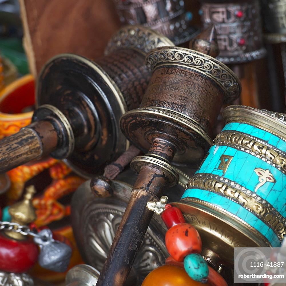 Colourful assortment of beads and ornate chinese items, Lhasa xizang china