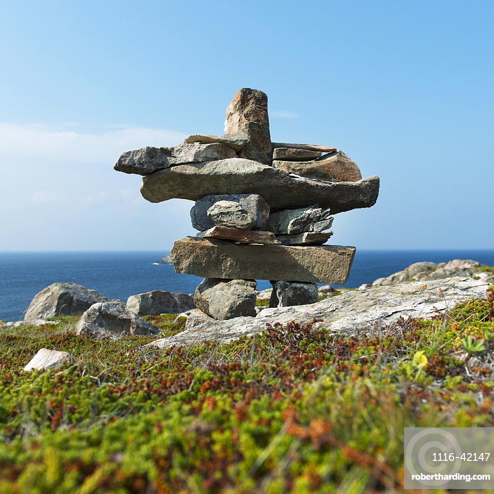 Cairn On The Shore Of The Atlantic Coast, Newfoundland And Labrador, Canada