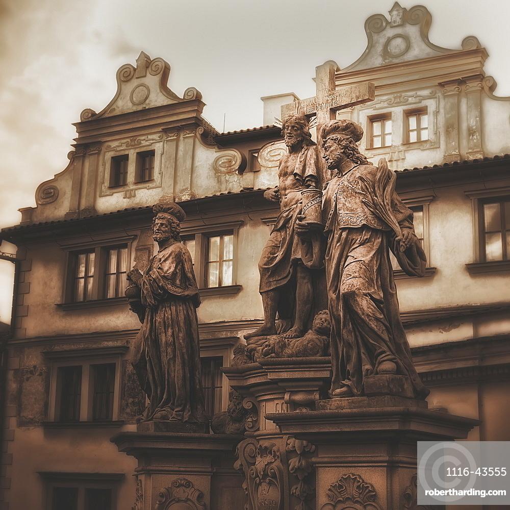 Statues Along The Karl Bridge, Prague, Czech Republic