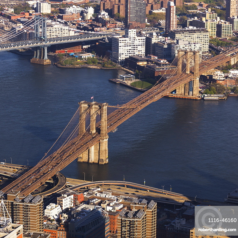 Manhattan Bridge And Brooklyn Bridge Crossing The East River, New York City, New York, United States Of America