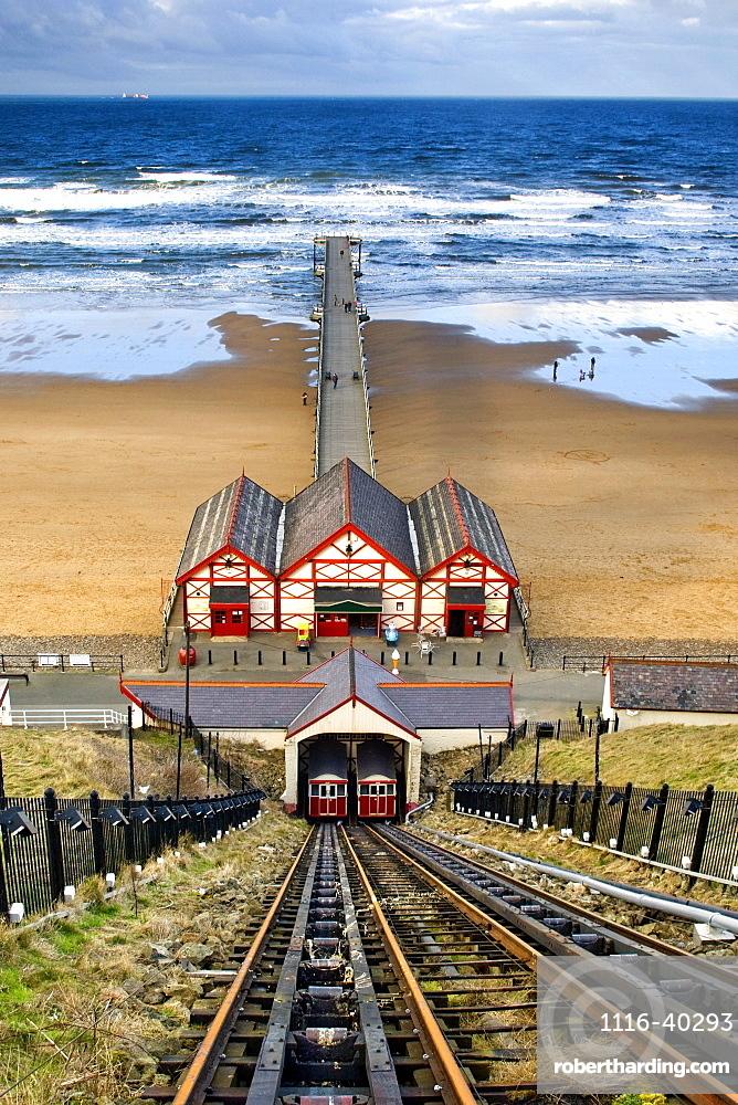 Tram Tracks Leading To Beach, Saltburn, North Yorkshire, England