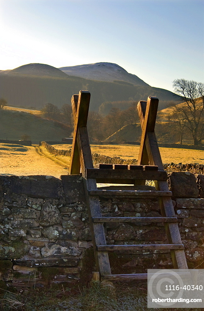 Ladder Over Stone Wall, Lake District, Cumbria, England, United Kingdom