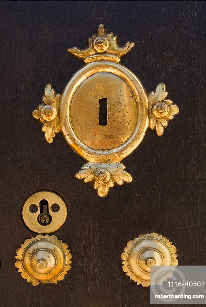 Brass Key Plates On Wooden Door