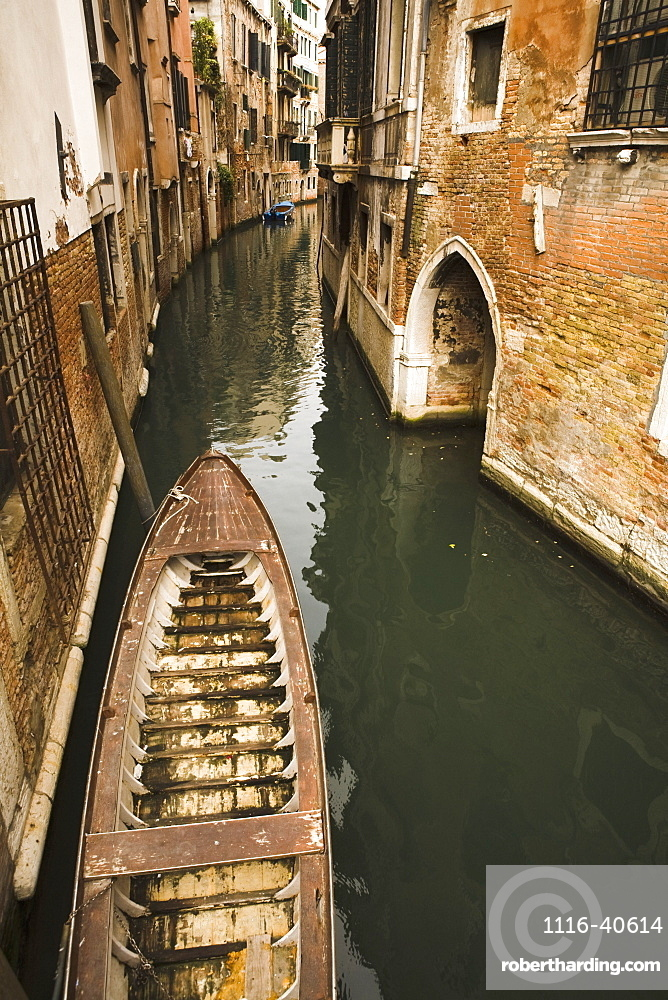 Boat Moored In Canal, Venice, Italy