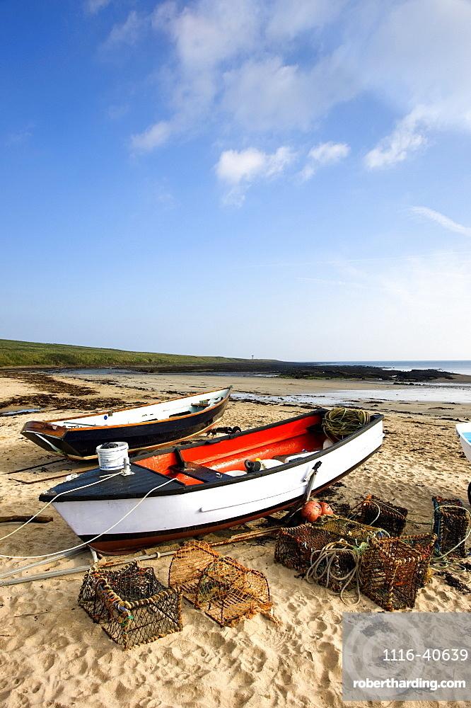 Northumberland, England, Fishing Boats And Nets On Shore