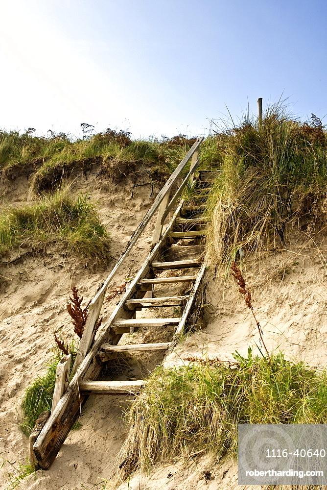 Northumberland, England, Steps Leading Up A Sand Dune