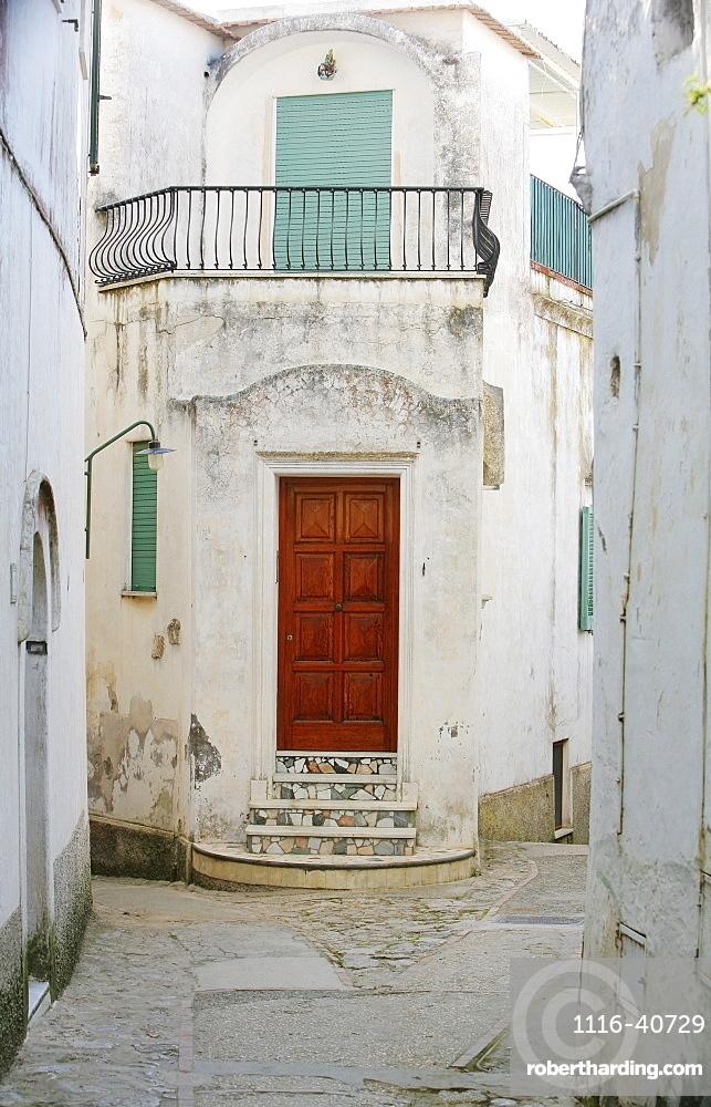 Capri, Italy, Red Doorway And Narrow Street Of Capri