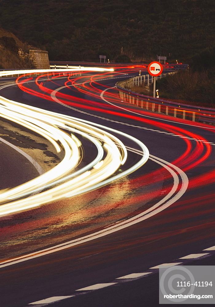 Vehicle Lights On A Road