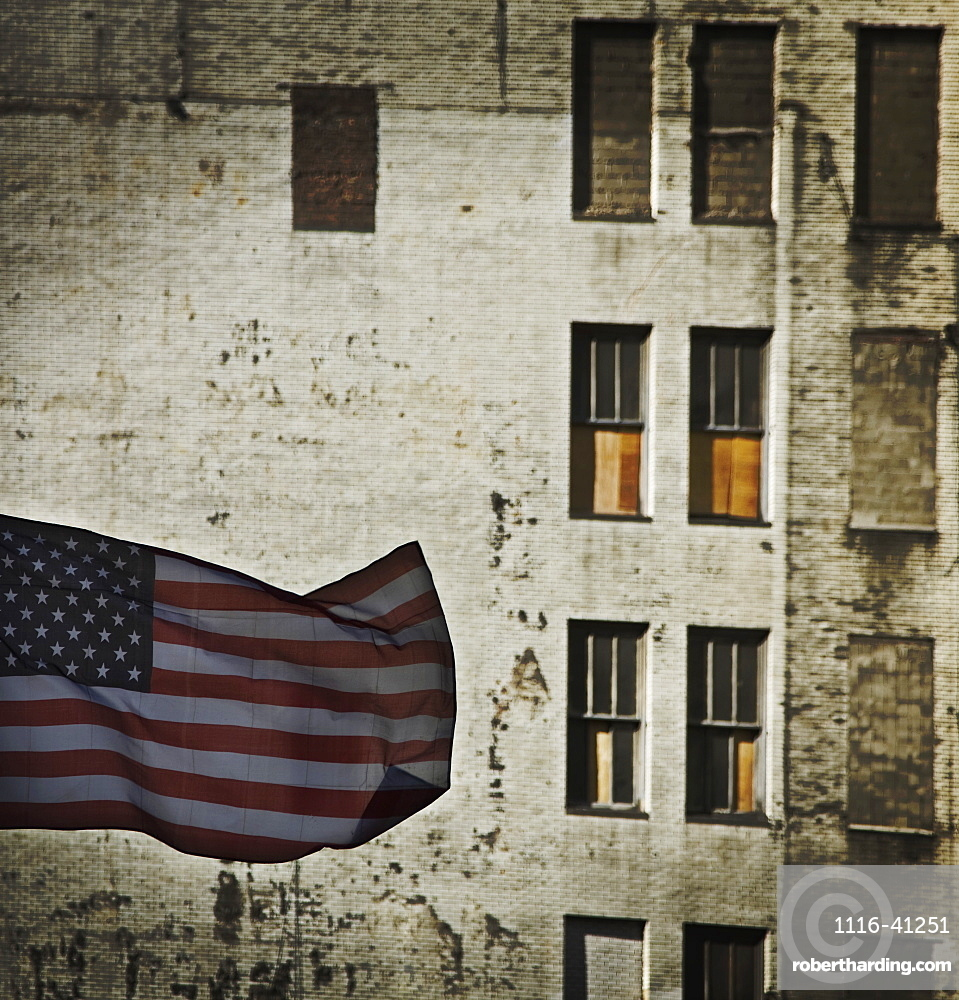 New York City, New York, United States Of America, An American Flag Against An Old Building