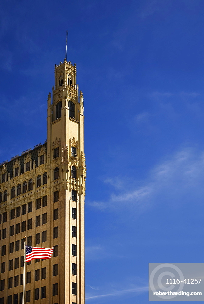 San Antonio, Texas, United States Of America, An American Flag In Front Of A Building
