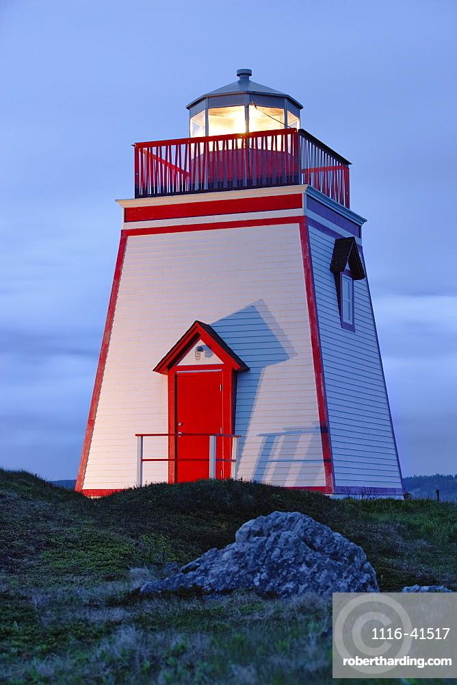 View Of Lighthouse At Twilight, Trinity, Newfoundland, Canada