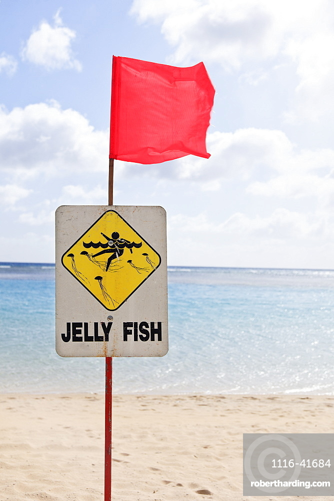 Sign on the beach with red flag warning of jelly fish, Honolulu hawaii united states of america