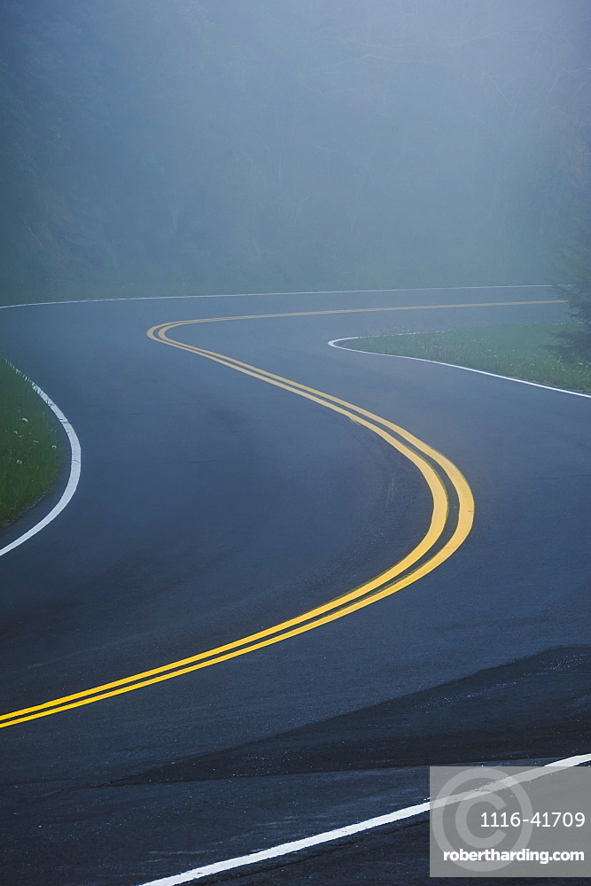 A curve in a road in great smoky mountains national park, Tennessee united states of america