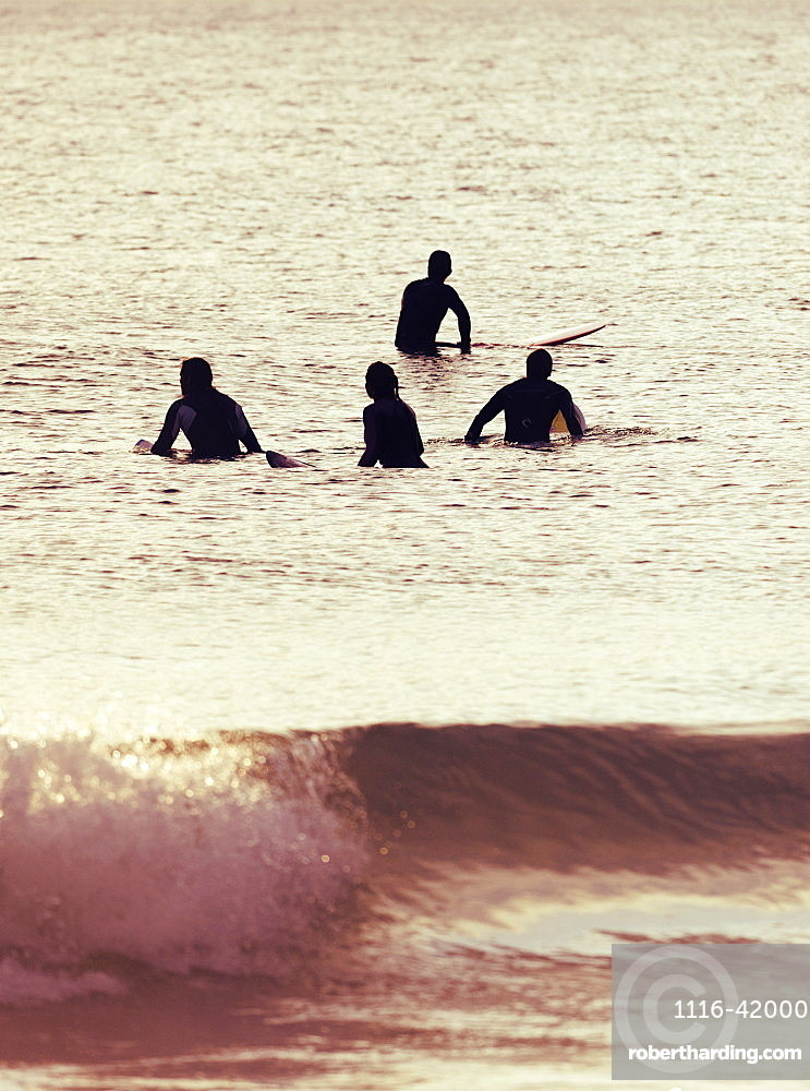 Out In The Ocean With Surfboards, Tarifa, Cadiz, Andalusia, Spain