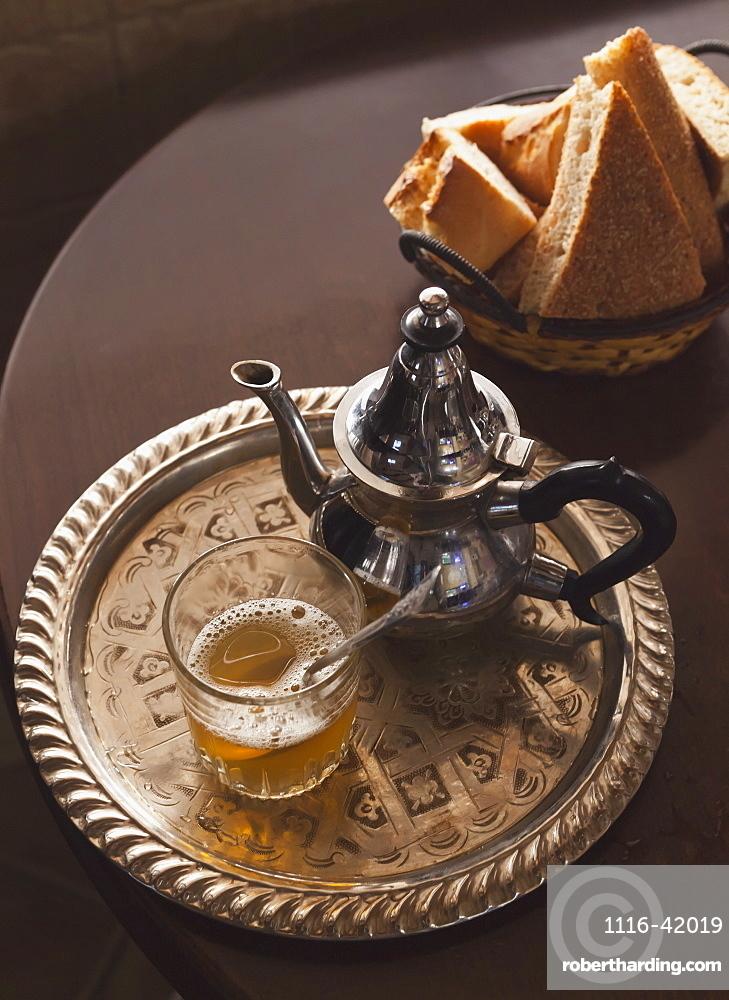 Mint Tea Teapot And Arabic Bread, Tangiers, Morocco
