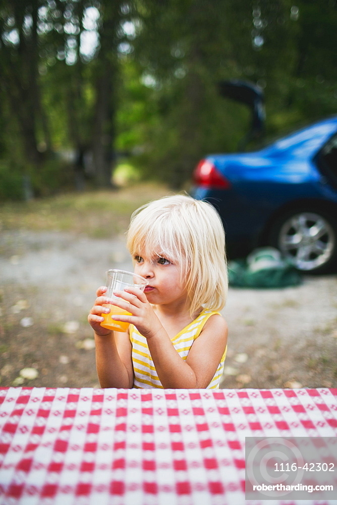 A Young Girl Sits At A Picnic Table Drinking, Peachland, British Columbia, Canada