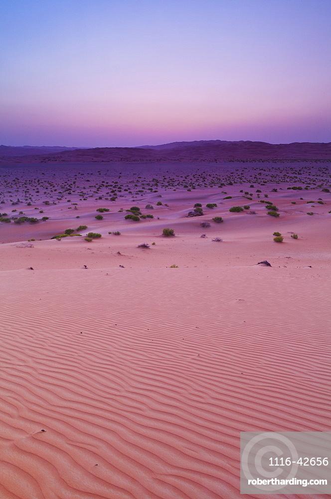 Sunset Over Sand Dune Landscape, Liwa Oasis, Abu Dhabi, United Arab Emirates