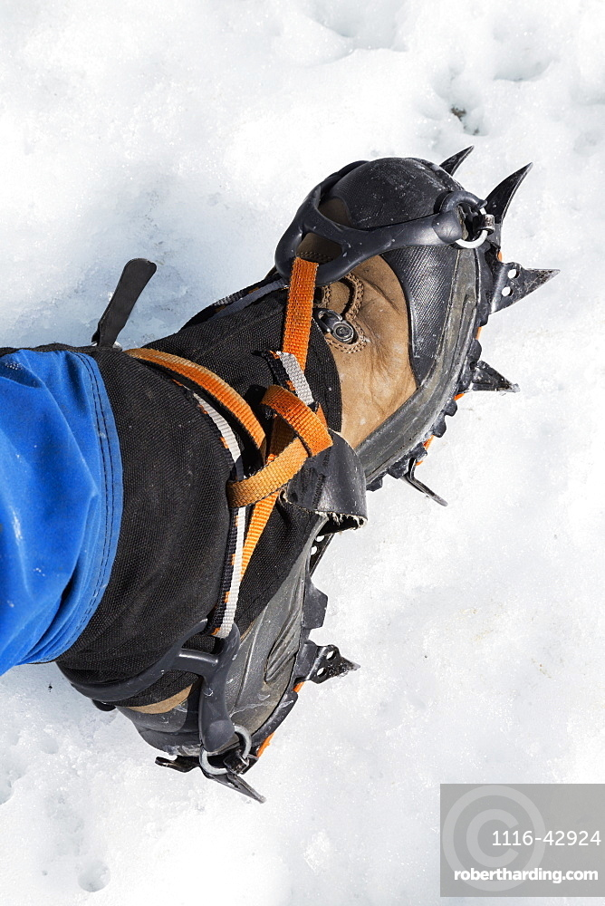 View Of A Hiker's Foot Wearing A Crampon Standing On The Matanuska Glacier, Alaska, United States Of America