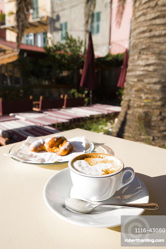 Cappuccino Served On A Table, Porto Venere, Liguria, Italy
