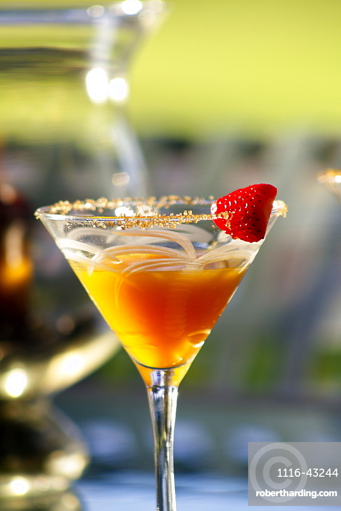 Hawaii, Maui, A Tropical Mango Martini With Strawberry Garnish.