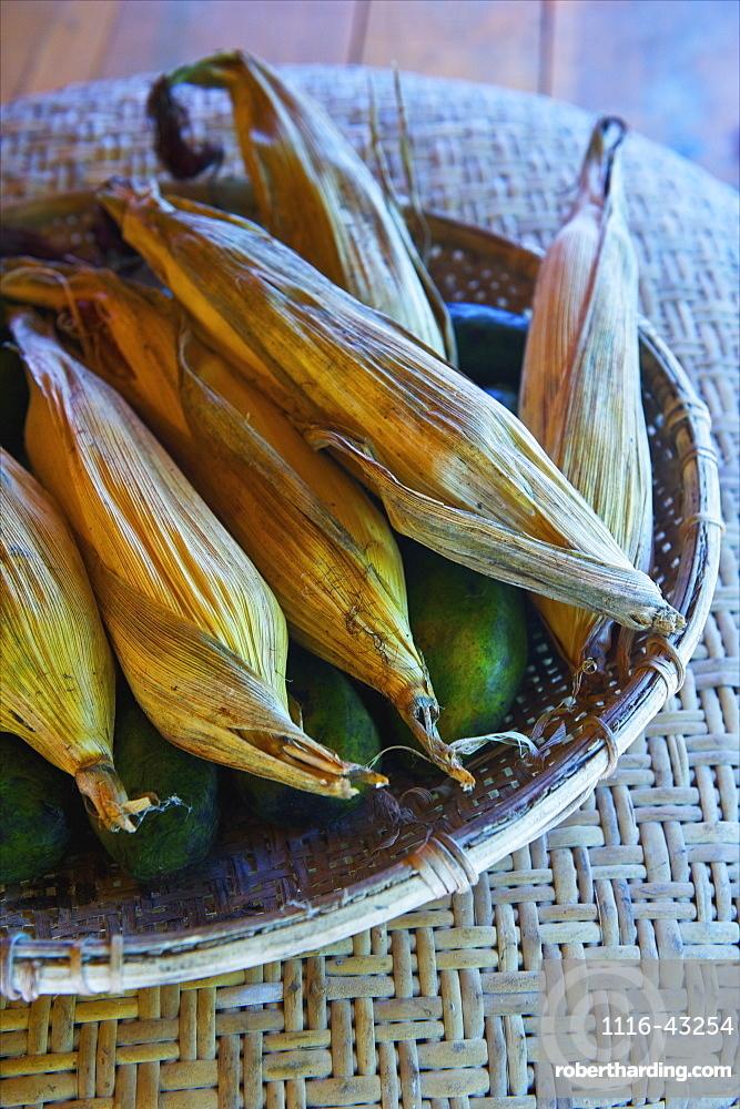 Cobs Of Corn In Their Husks In A Bowl, Ulpotha, Embogama, Sri Lanka