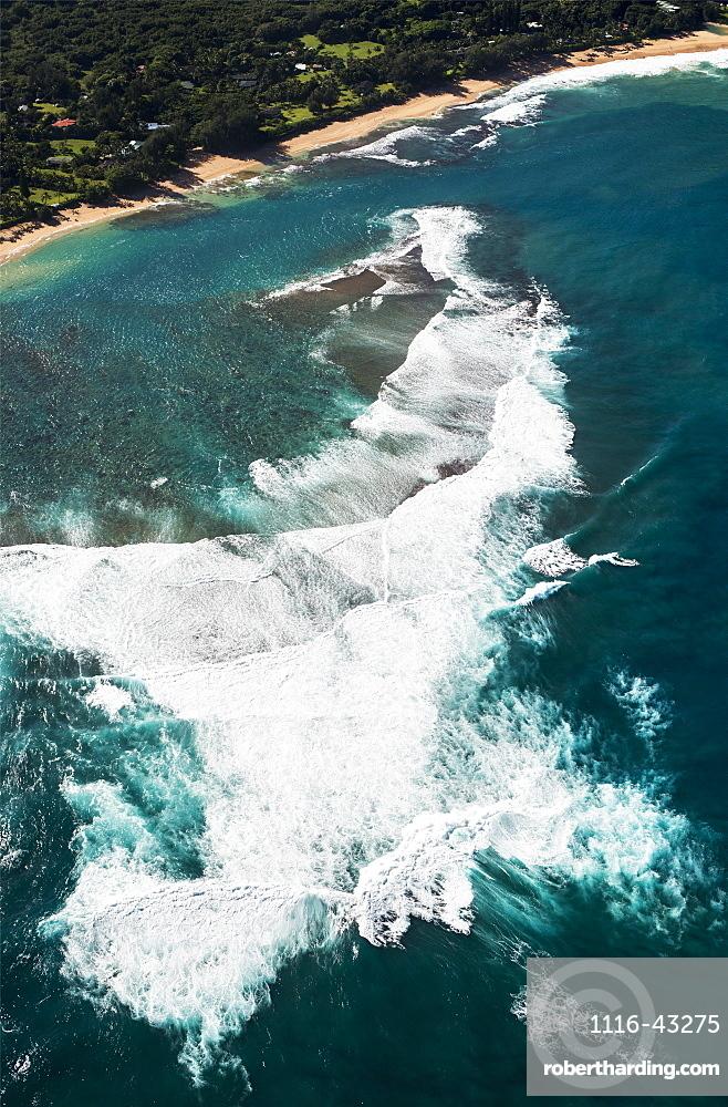 Surf Meets The Beach At Haena, Haena, Hawaii, United States Of America