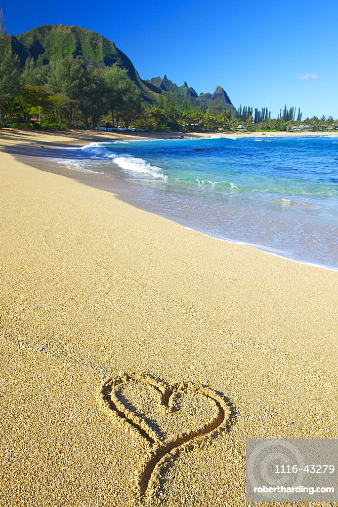 A Heart Shape Drawn In The Sand On Tunnels Beach, Kauai, Hawaii, United States Of America