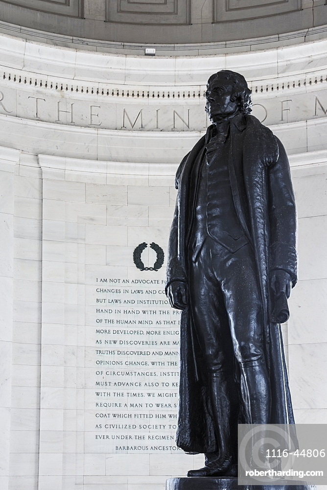 Statue At Thomas Jefferson Memorial, Washington, District Of Columbia, United States Of America