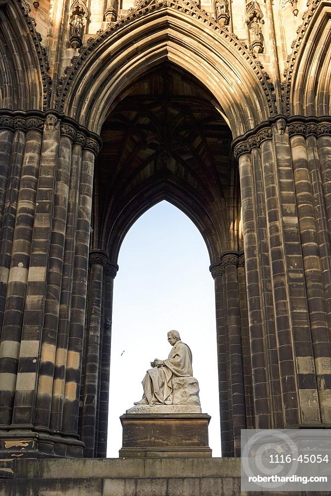Ornate Facade Of An Arched Niche With Scott Monument, Princes Street Gardens, Edinburgh, Scotland