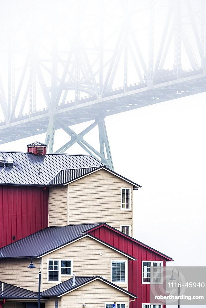 The Astoria-Megler Bridge Disappears Into The Fog, Astoria, Oregon, United States Of America