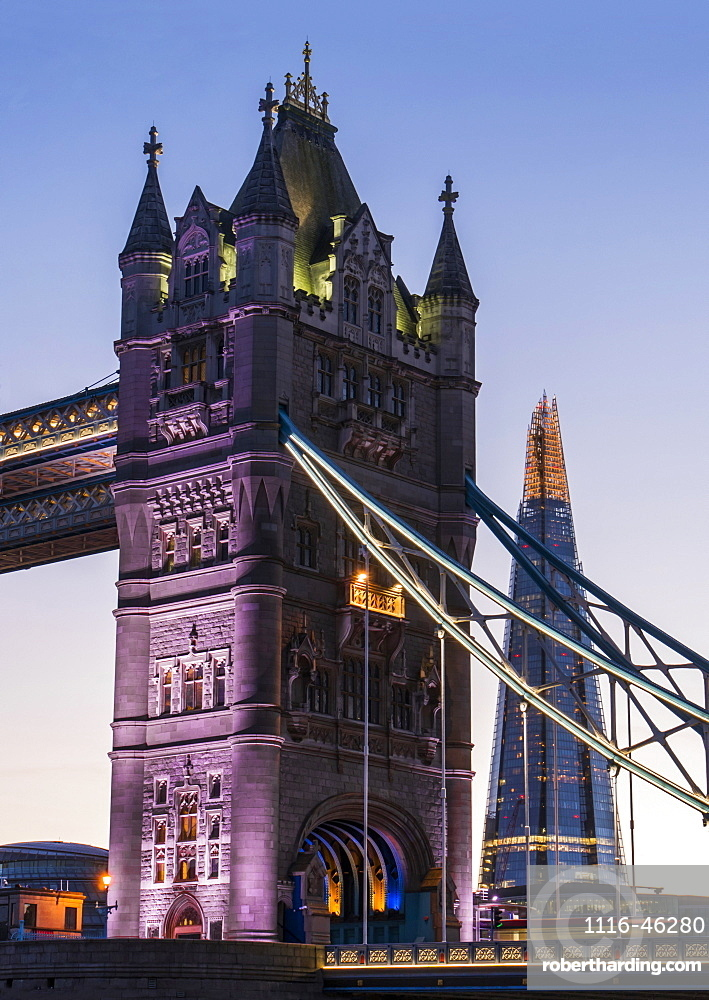 Tower Bridge And The Shard, London, England