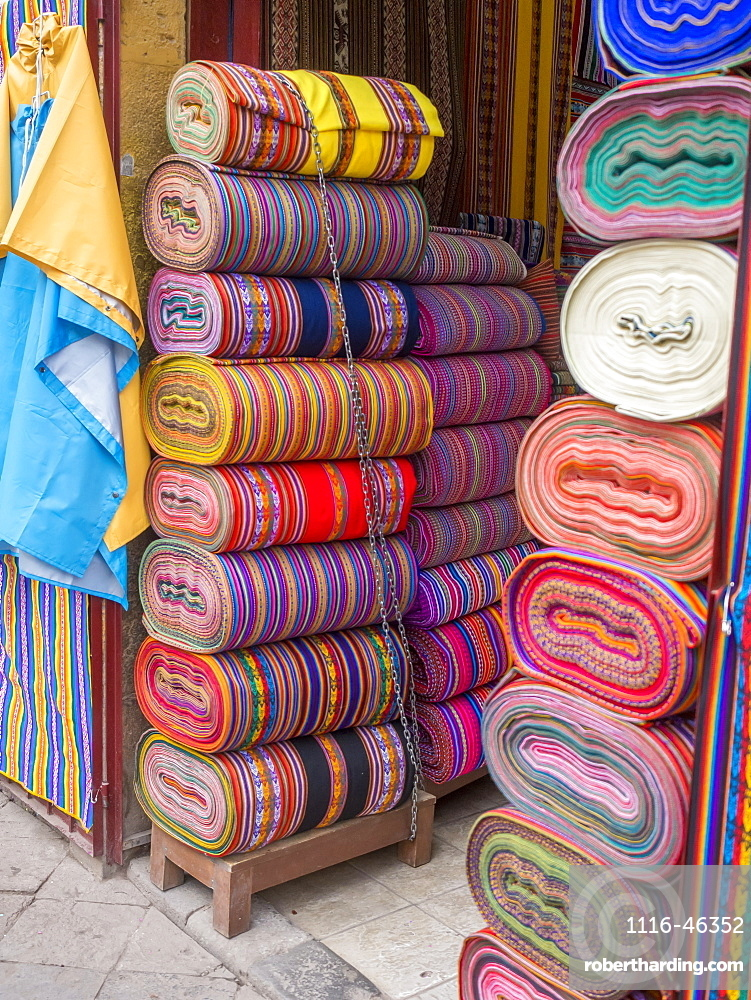 Bolts Of Colourful Peruvian Designs In A Street Market, These Patterns Are Part Of The Indigenous Quechua Culture, Cusco, Peru